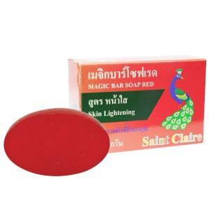 สบู่ก้อนน้ำผึ้งสีแดง saint claire สูตรหน้าใส 65 กรัม